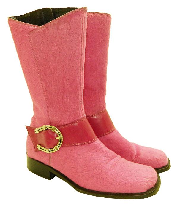 DONALD J PLINER Pink Calf Hair Square Toe Boots