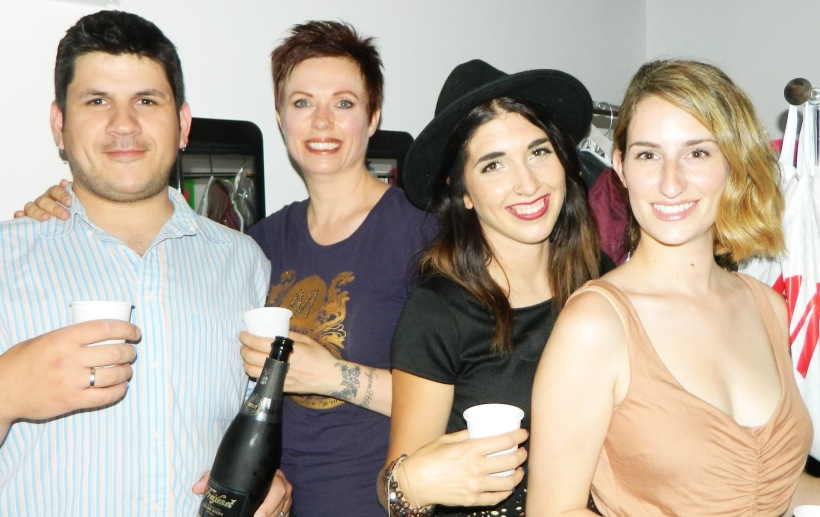 Champagne chaser backstage with Vlassis Xanthopoulos Helen Siwak Tessa Doll Alison Altena