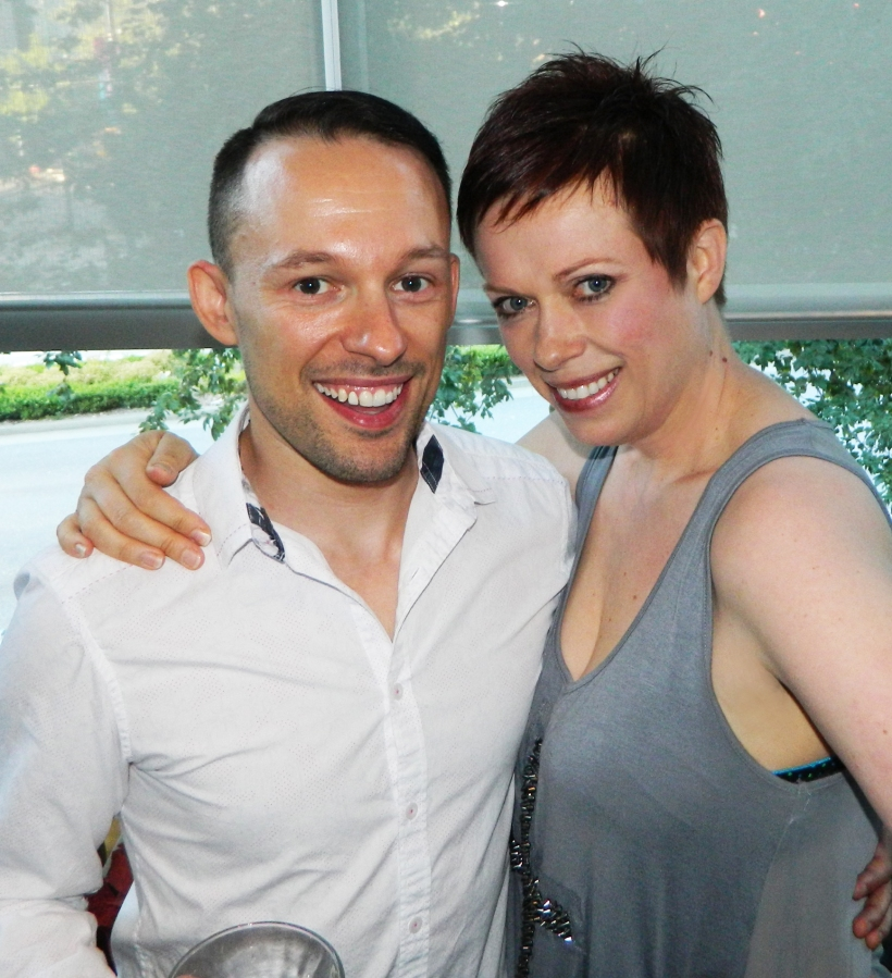 Josh Rimer with Helen Siwak of Kitsilano Kitty's Closet at 'Sassy Scoop' OUTtv Party at Milestones on Cambie, Vancouver, BC