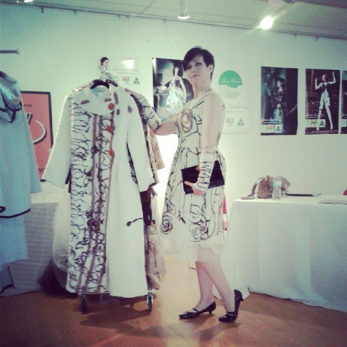 Toasty warm in my 100% certified organic Green Embassy alpaca dress with arm cuffs at the Vancouver Fashion Week exhibition area.