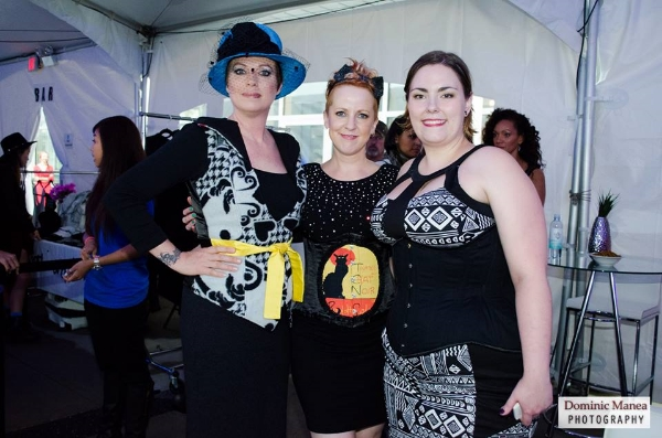 MLZ's Helen Siwak, with Corinne Simpson and Nikki Styx of Dark Knits. METRO LIVING ZINE NEWS IMAGE CREDIT: Vancouver Fashion Week (www.vanfashionweek.com). Photographer: Dominic Manea.